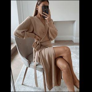 Khaki long sweater cardigan